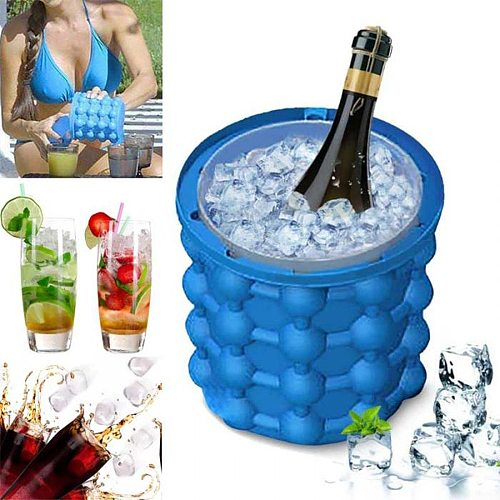 Ice Cube Maker Silicone Ice Cube Mold Tray Portable Bucket Wine Ice Cooler Beer Cabinet Kitchen Tools Drinking Whiskey Freeze