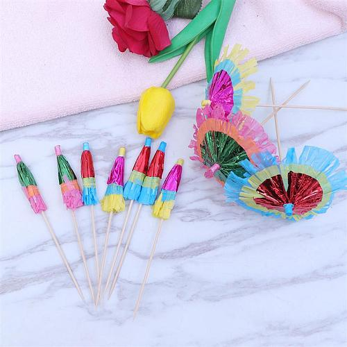 10pcs Umbrellas Picks Beautiful Cocktail Drink Fruits Dessert Picks for Party Bar Store