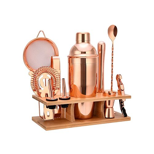 Electroplating Rose Gold Stainless Steel Bartender Kit Cocktail Shaker Stainless Steel Shaker Wooden Stand 11 Piece Set