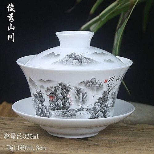 Tureen Single Teacup Tea Set Large Cover Bowl Kung Fu Dehua Ceramics Sancai White Porcelain Blue and White Gaiwan 300ml