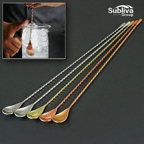 Stainless Steel Mixing Cocktail Spoon, Spiral Pattern Bar Teadrop Spoon Stir Spoon Bar Tool Bartender Tools