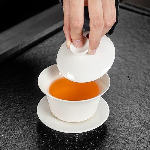Dehua White Porcelain Gaiwan Large Ceramic Blue and White Sancai Cover Bowl Single Teacup Jingdezhen Teapot Tea Set