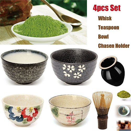 4pcs/set traditional matcha giftset bamboo matcha whisk scoop ceremic Matcha Bowl Whisk Holder japanese tea sets