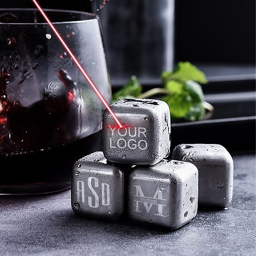 Customized Stainless Steel Whiskey Stone Engraved Metal Whiskey Rocks Ice Cubes Reusable Beverage Chilling Stones with Tongs
