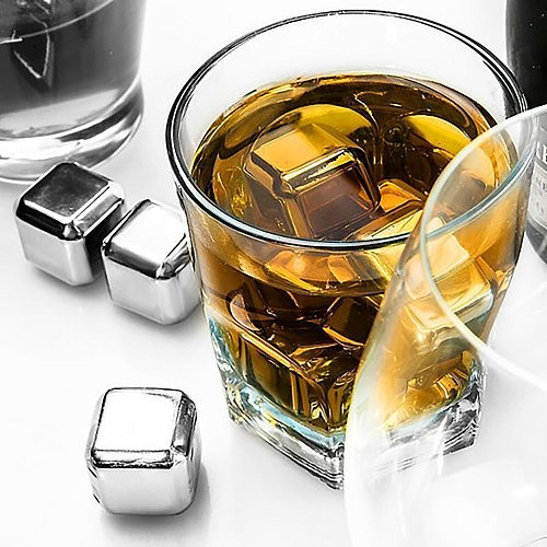 Stainless Steel Whisky Stones Ice Cubes, Reusable Chilling Stones for Whiskey Wine, Keep Your Drink Cold Longer, SGS Test Pass