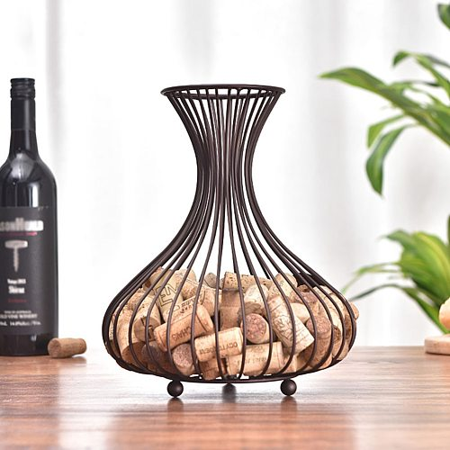 Retro Wine Bottle Cork Holder Cork Storage Container Iron Basket Wine Bottle Stopper Cork Organizer Home Desk Decoration