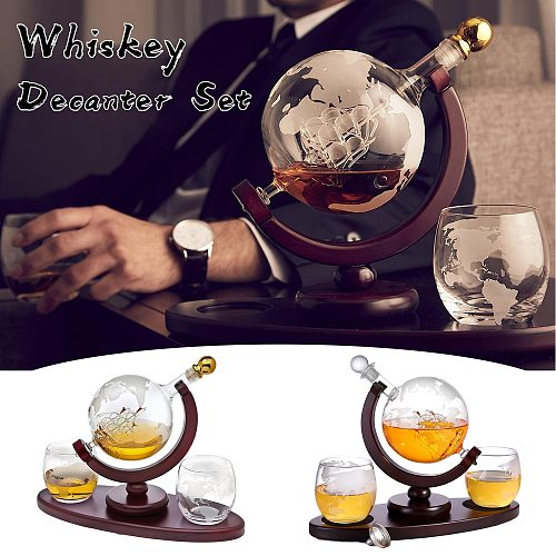 Whiskey Decanter Globe Set with 2 Etched Globe Whisky Glasses & Oval Solid Wood Tray Excellent Gift for Man