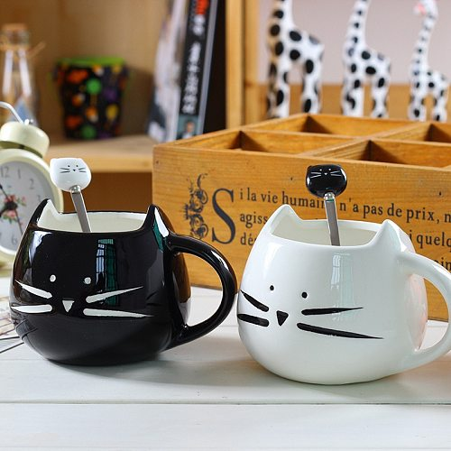 Ceramic Cute Cat Mugs With Spoon Coffee Tea Milk Animal Cups With Handle 380ml Drinkware Nice Gifts
