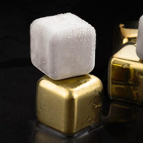 4/6/8 Gold Stainless Steel Whiskey Stone Ice Cubes 1Set Whiskey Cube Beer Chiller Eco-friendly Stones For Wine Cooler Restaurant