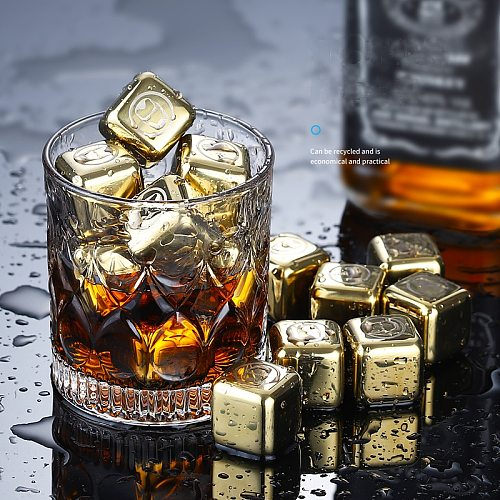 Reusable Golden Whiskey Stones Ice Cubes Chilling Rocks whisky cooler whiskey ice bucket champagne beer cooler stainless steel