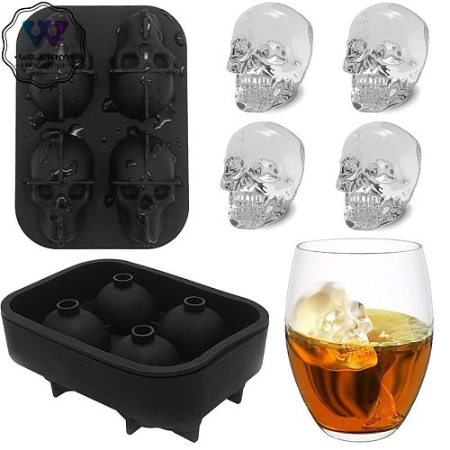 Ice Cube Tray Pudding Mold 3D Skull Silicone Mold 4-Cavity DIY Tool Whiskey Wine Cocktail Ice Cube 3D Silicone Mold