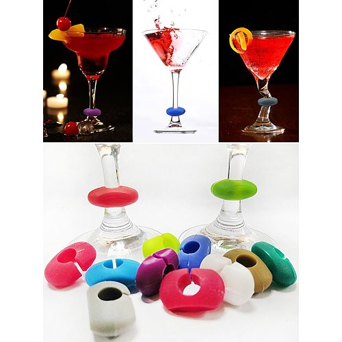 24 Pcs Silicone Red Wine Glass Marker Creative Marker Charm Drinking Glass Identification Cup Labels Tag Signs For Party