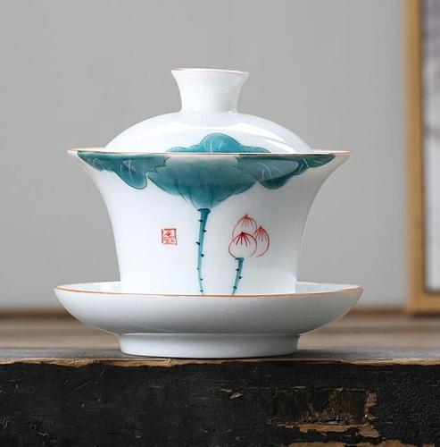 175ml Gaiwan Ceramic Tea Bowl Lid Saucer Set Lotus Teapot Master Cup Exquisite Tea Tureen Kung Fu Tea Teaware Drinkware As Gift