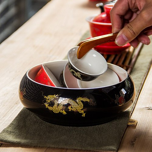 Large Tea Wash Bowls Chinese Tea Set Tea Cup Washed Tea Bowl Multifunctional Flowerpot Ceramic Accessories Tea Ceremony Set