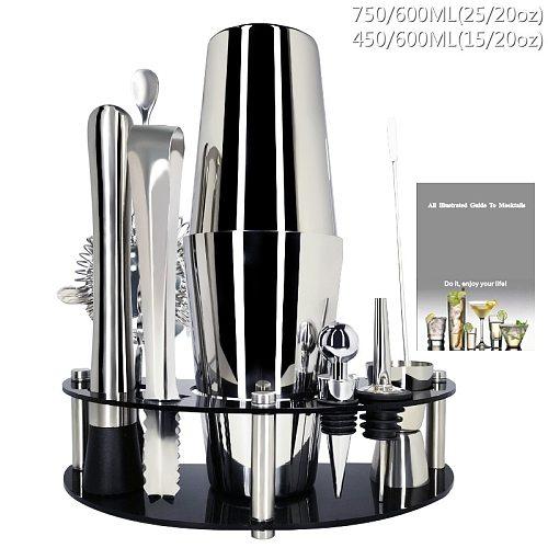 750/600/450ml Cocktail Shaker Set Bartender Kit Stand, Professional Stainless Steel Martini Drink Shaker Home Bar Tools