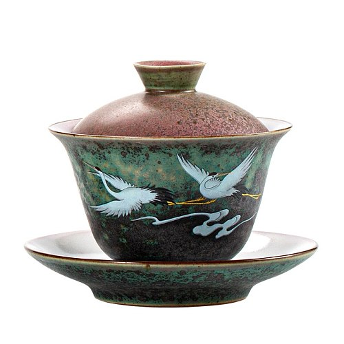 Anti-scald Large Ceramic Retro Tea Cover Bowl with Lid Sancai Gaiwan Single Tea Bowl Hand Painted Shining Crane Cover Bowl
