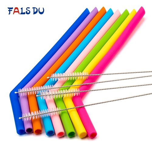 8pcs Reusable Silicone Straws Food Grade Silicone Flexible Bent Straight Drinking Straws With Cleaner Brush Party Bar Accessory