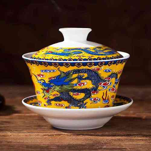 Hot sale 240ml Jingdezhen Vintage Blue and White Porcelain Retro Dragon Painted Coffee Tea Bowl Drinkware Kung Fu Gaiwan