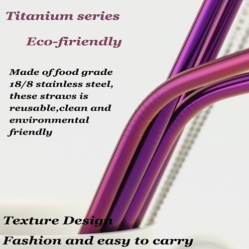 5pcs Eco Friendly Reusable Straw 304 Stainless Steel Straw Metal Smoothies Drinking Straws Set with Brush & Bag Wholesale