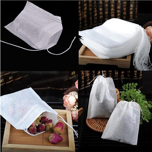 100Pcs/Lot Teabags 5 x 7CM Empty Scented Tea Bags With String Heal Seal Filter Paper for Herb Loose Tea Infuser Filter