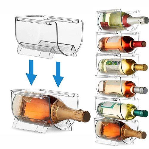 1/2/4Pcs Transparent Wine storage rack  Bottled beverage storage box Universal Wine Bottle Holder Refrigerator Storage Organizer