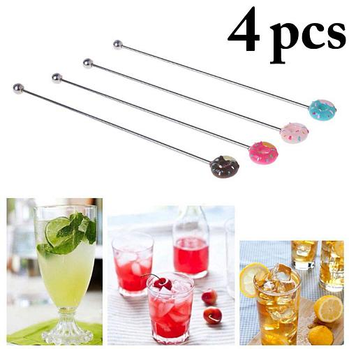4 Pcs 20cm Stainless Steel Creative Cute Donut Decor Mixing Cocktail Stirrers Sticks for Wedding Party Bar Swizzle