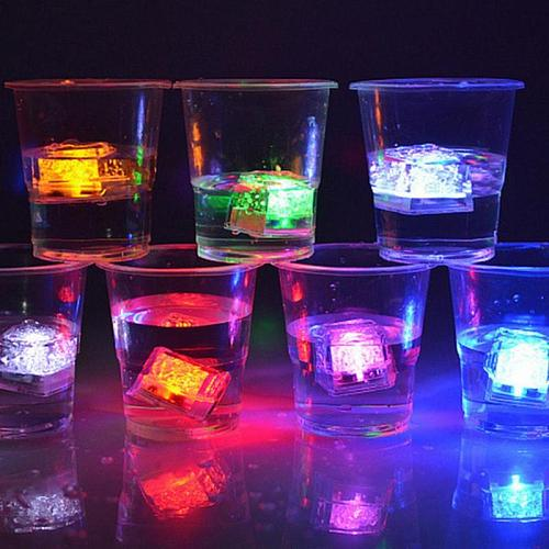 12pcs DIY Colorful Flash LED Ice Cubes Party Props Luminous LED Glowing Induction Wedding Festival Christmas Party Decor