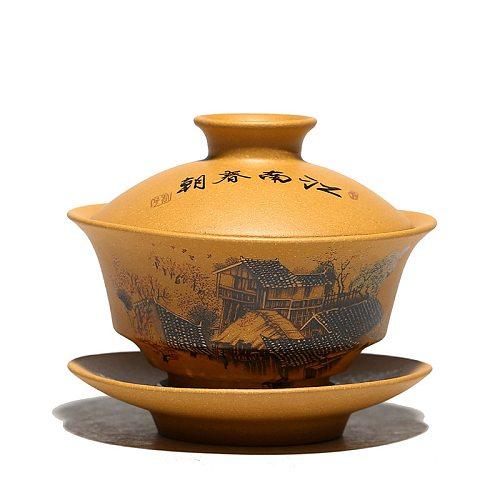 Yixing Tea Tureen Ore Mud Purple Clay Handpainted Gaiwan Creative Teaware