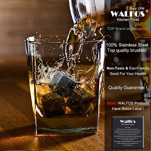 WALFOS 100% Natural Whiskey Stones Sipping Ice Cube Whisky Stone Whisky Rock Cooler Wedding Gift Favor Christmas Bar Accesories