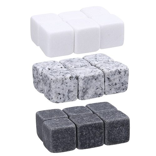 9 PCS/Set Reusable Ice Cubes Whiskey Rocks Chilling Rocks for Wine Beer Drinks Kitchen Tools