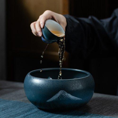 PINNY Retro Landscape Ceramic Tea Wash Bowls Traditional Chinese Vintage Tea Service Kung Fu Tea Accessories