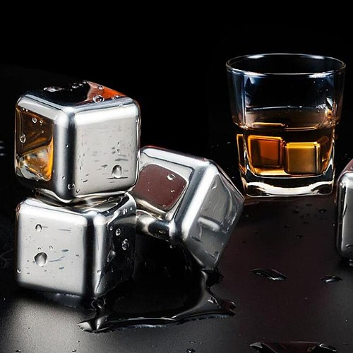 1/6/8 Pcs Stainless Steel Ice Cubes, Reusable Chilling Stones For Whiskey Wine, Keep Your Drink Cold Longer