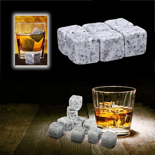 6Pcs Wine Ice Stone Whisky Stoneswith Storage Bag Whisky Rock Sipping Ice Cube Cooler Christmas Wedding Gift Bar Tool Barware