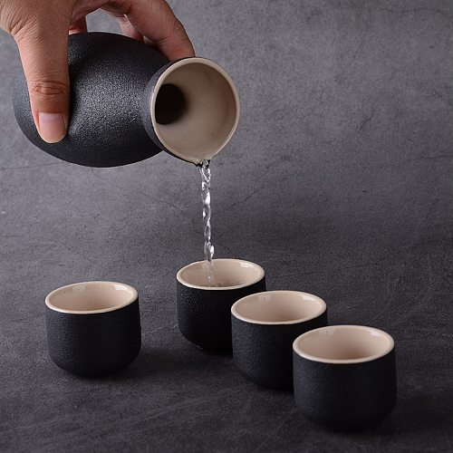 7Pcs Vintage Ceramic Sake Pot Cups Set Japanese Style Hip Flasks Home Kitchen Office Flagon Liquor Cup Drinkware Creative Gifts