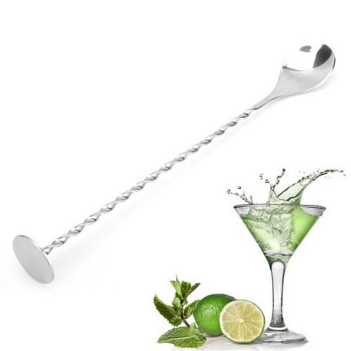 VOGVIGO Stainless Steel Threaded Bar Spoon Swizzle Stick Coffee Cocktail Mojito Wine Spoons Barware Bartender Tools Accessories
