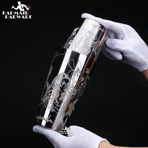 550ml/850ml Engraving Stainless Steel Cocktail Boston Bar Shaker Bar tool