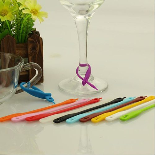 12pcs/set Colorful Silicone Wine Glass Bottle Drink Cup Marker Party Tags Cup Identify Label Random Color