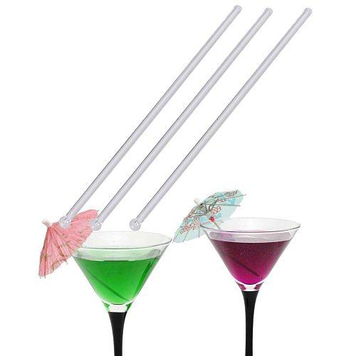 150Pcs Transparent Cocktail Drink Bar Muddler Round Head Plastic Stirring Mixing sticks Ladle Stirrer Swizzle Stick