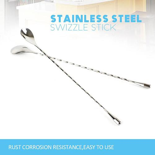High Quality Stainless Steel Cocktail Bar Spiral Pattern Drink Shaker Muddler Stirrer Twisted Mixing Spoon Kitchen Tools