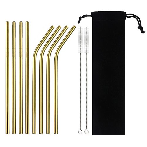18/10 Stainless Steel Reusable Straws Gold Drinking Straw Set Mteal Straw Coffee Party Bar Straw With Cleaner Brush Portable Bag