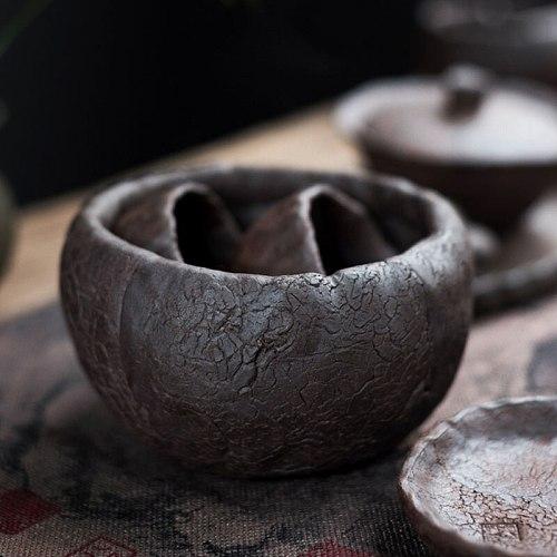 600ml Retro Art Stoneware Small Tea Wash Japanese Household Ceramic Cup Wash Office Desktop Fruit Snack Bowl Tea Set Accessories