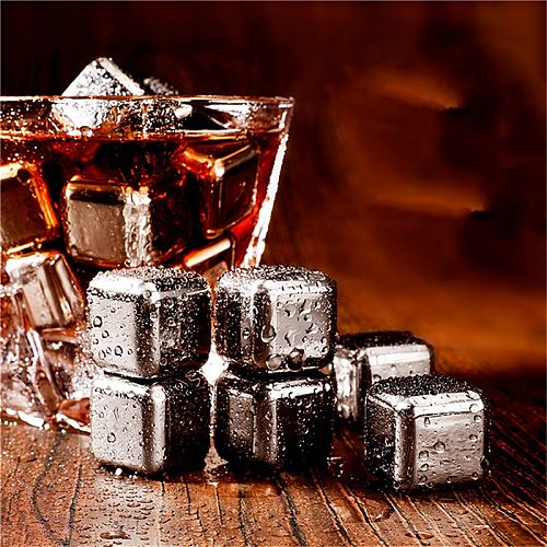 4/6/8 Pcs Stainless Steel Ice Cubes Reusable Convenient Chilling Stones For Whiskey Wine Keep Your Drink Cold Longer New