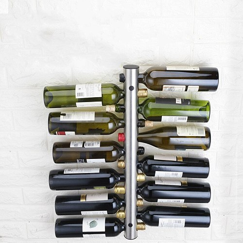 Stainless steel red wine rack, wall hung vertical creative wine rack, Bottle wall mounted  European Style free shipping