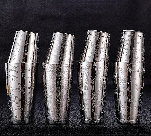 Boston Cocktail Shaker With Etched Pattern Unweighted Bar Cocktail Shaker Tin Set - 800ml & 500ml