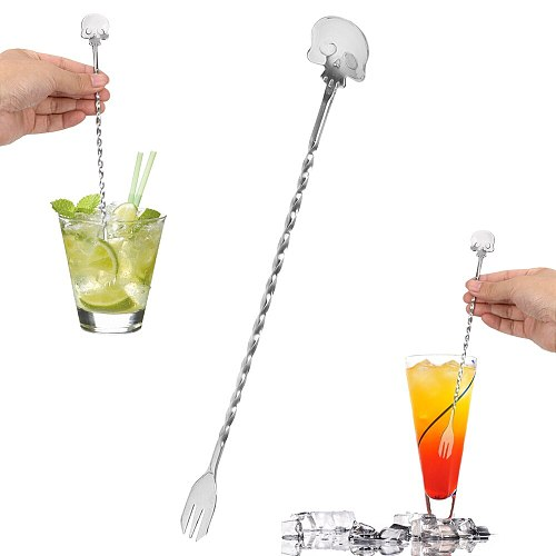 Swizzle Sticks 25cm Cocktail Pick Mixing Fork Stainless Steel Stirrer Bar Spoon Skull Bar Spoon Kitchen Tools