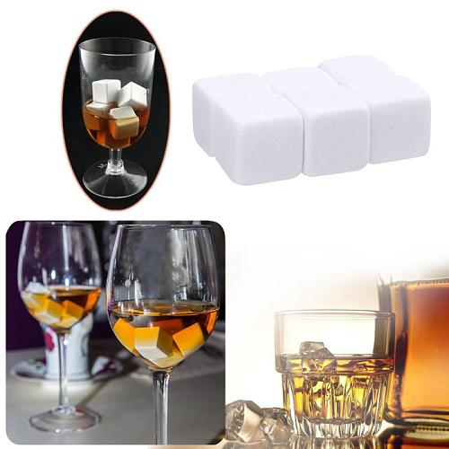 6pcs Granite Pouch Whisky Stone Rock Cubes Glacier Rocks Natural Bulk Cooler For Xmas Barware Houehold Drinking Tool Gifts