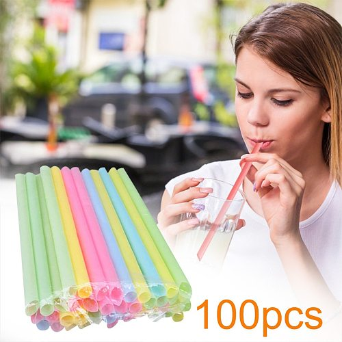100pcs Large Drinking Straws Mixed Colors For Pearl Bubble Milk Tea Smoothie Party Plastic 21 cm x 1cm Bar Accessories