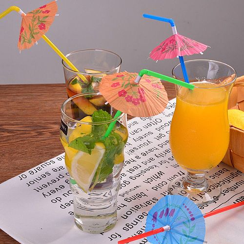 30Pcs Party  Umbrella Cocktail Dringking Straws Decor Wedding Party Supplies Bendable Cocktail Drinking Party Straws Hawaiian
