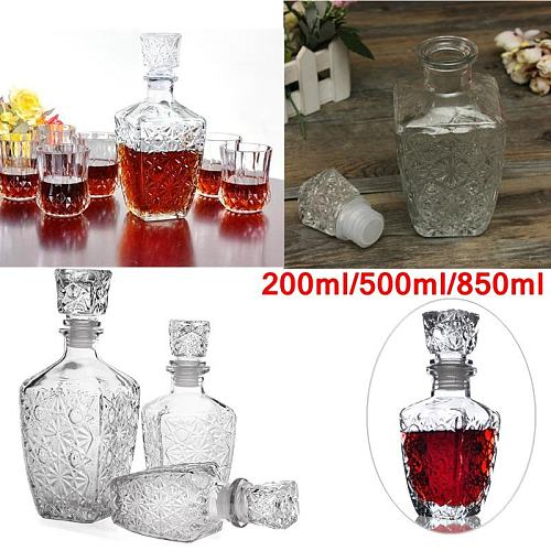 200Ml / 500Ml / 850Ml Crystal Wine Bottle Glass Cup With Lid Whiskey Liquor Wine Decanter Bar Drink