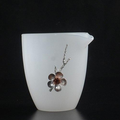 White jade porcelain fair mug large hand grasp pure white transparent tea ware personality inlaid tin kung fu tea set